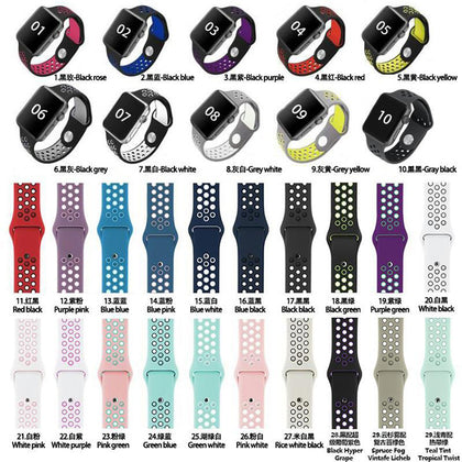 Applicable Apple Watch Dual Color Silicone Strap Applicable to iwatch 1234 Generation Sports Strap Breathable Silicone