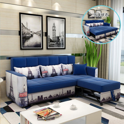 Multifunctional small apartment sofa bed dual-use economic full iron frame folding push-pull combination fabric sofa
