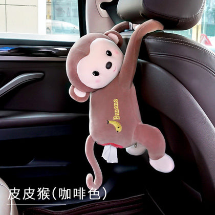 Creative car tissue box cartoon cute Daquan car interior hanging car decoration supplies flannel box pumping box