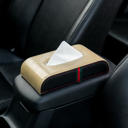 Car Tissue Box Creative Box Car Car Leather Pull Armrest Napkin Put Pump Leather Fixed Car Interior