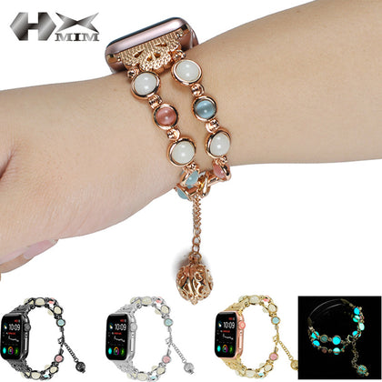 Suitable for Apple 1/2/3/4 generation watch with luminous pearl luminous bead metal watch with apple watch5