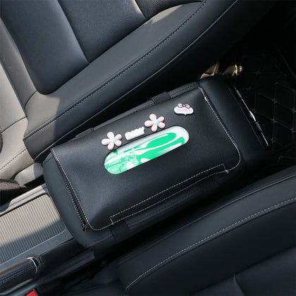Car cute sun visor interior creative tissue box leather cartoon pumping box armrest box chair back multifunctional