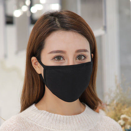Autumn and winter men and women universal three-layer dustproof black mask Korean adult black fashion mask factory direct sales