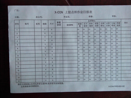 Factory Form Report Production Record Table Quality Checklist Test Record Table Machine Maintenance Equipment Usage Table