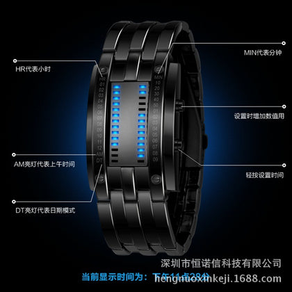 Factory direct binary LED foreign trade watch cross-border explosion models electronic watch sports waterproof personality fashion watch