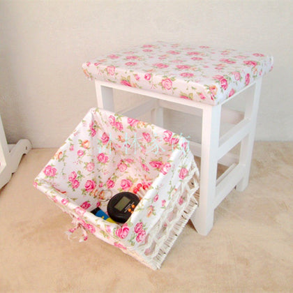 Garden cloth solid wood storage stool