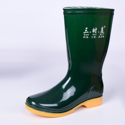 Wholesale women's rain boots water boots thick beef tendon bottom mining boots waterproof oil resistant acid and alkali wear custom printing
