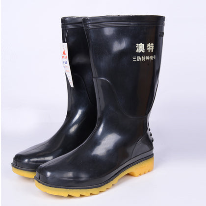 Wholesale in the tube rain boots water boots mining boots water shoes waterproof and oil resistant acid and alkali custom printing