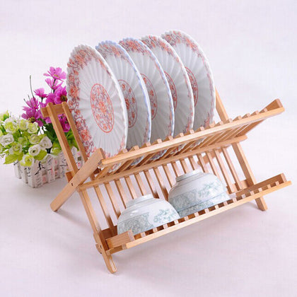 Factory direct sales double dish rack bamboo drain bowl rack dish drain drain kitchen gadgets wholesale