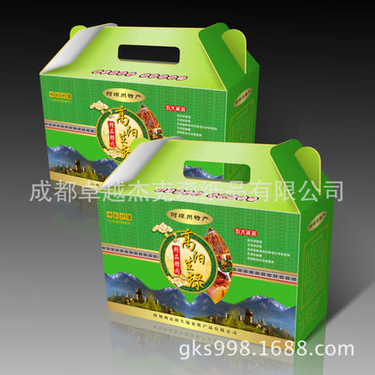 Chengdu packaging and printing factory direct supply of new corrugated paper native products packaging gift box custom with handle structure
