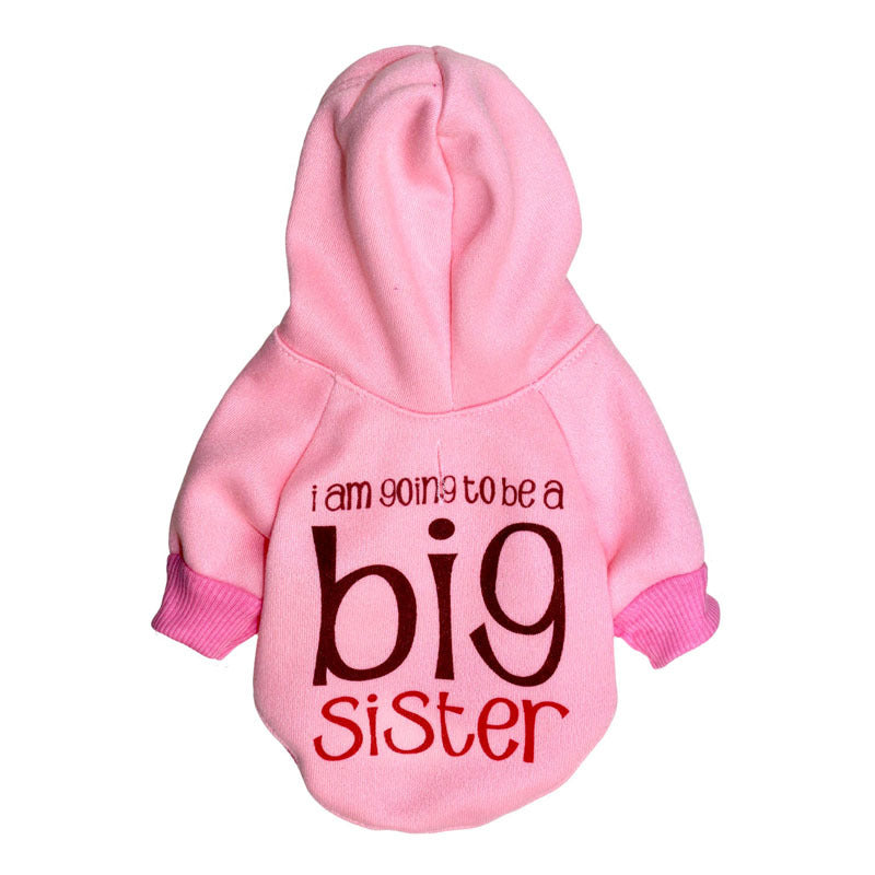 "Pet clothes, dog clothing, fleece cloth, hood, ""good sister"", pet small dog body shirt, autumn and winter models"