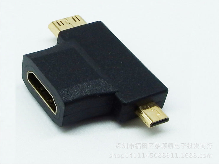 HDMI A female to c revolving d male three in one adapter HDMI to micro / mini HDMI converter