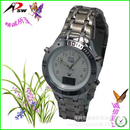 Factory Customized German-Japanese Dual-Screen Automatic Time-adjusting Solar Radio Watch