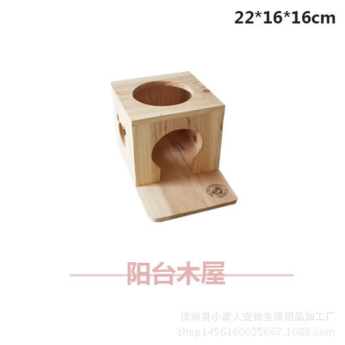 New fir material resistant to sturdy pet balcony wooden house Cute tortoise squirrel cool summer creative wooden nest