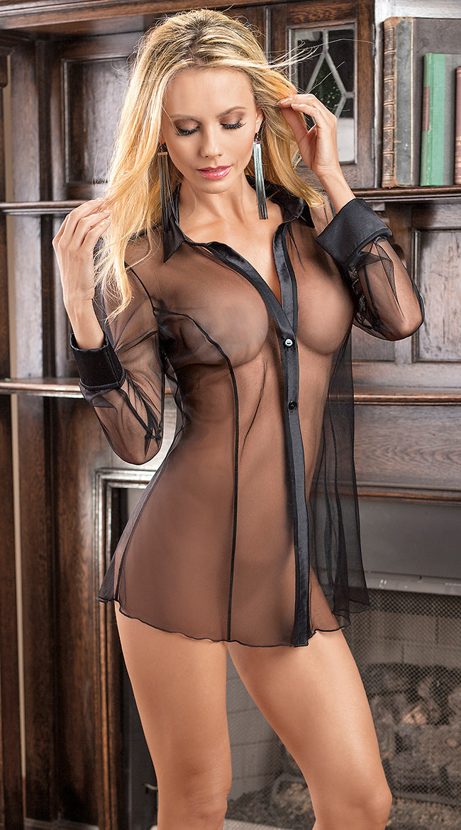 Europe and the United States foreign trade ladies sexy transparent lingerie Uniform temptation perspective wear fun pajamas wholesale 1103