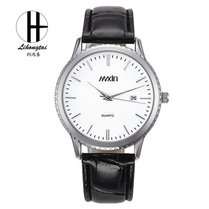 Factory direct casual quartz watch calendar three-pin couple models electronic watch leather strap men and women watches