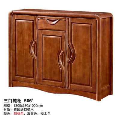Large-capacity storage dustproof folio sliding multi-layer shoe cabinet solid wood shoe cabinet two door three door shoe cabinet oak shoe rack