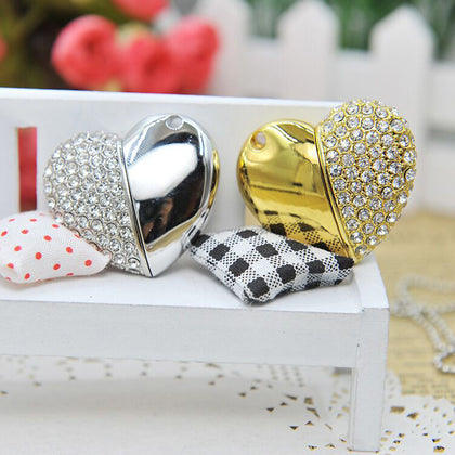 Heart-shaped broken diamond USB flash drive 4g new fashion cute mini metal USB flash drive 8g gift USB flash drive custom LOGO wholesale