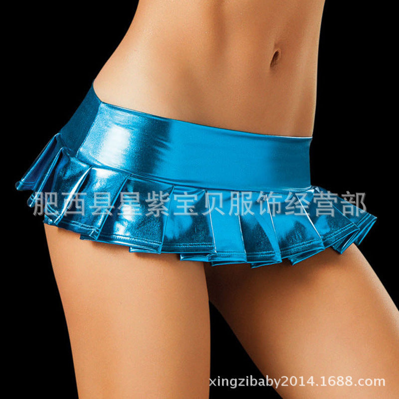 Aliex Europe and the United States sexual lingerie plastic patent leather folds single layer cake mini skirt foreign trade wholesale 1021