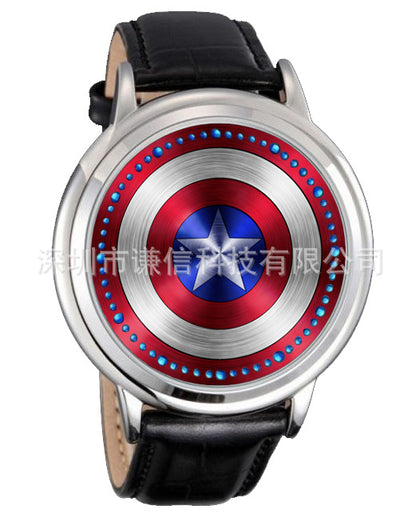 Creative concept personality smart round leather watch black and white waterproof 60 lights touch LED watch anime watch