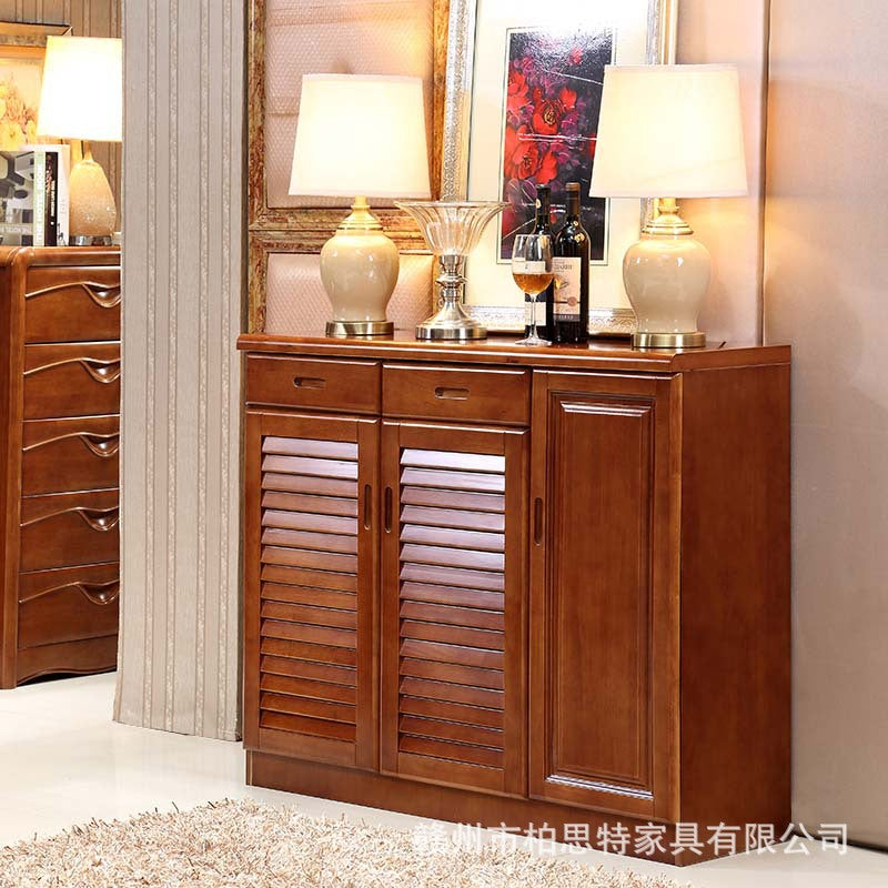 Solid wood shoe cabinet oak storage cabinet modern Chinese two door three door shoe cabinet large capacity shoe cabinet living room storage cabinet