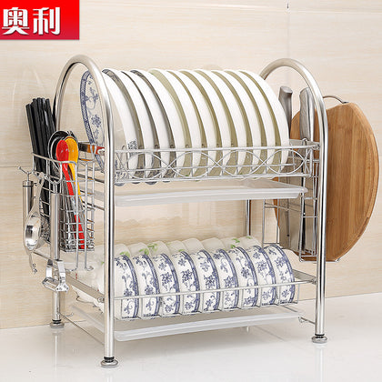 304 stainless steel dish rack double drain rack kitchen rack dish rack dish dish rack