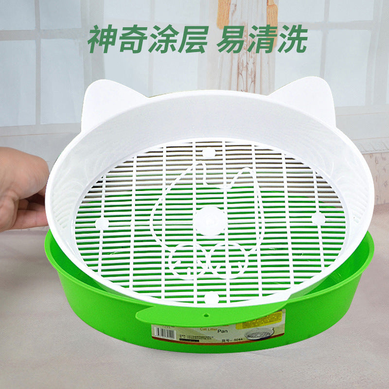 Cat litter pot semi-closed in the constant cartoon cat litter bowl double-layer semi-closed cat toilet pet supplies