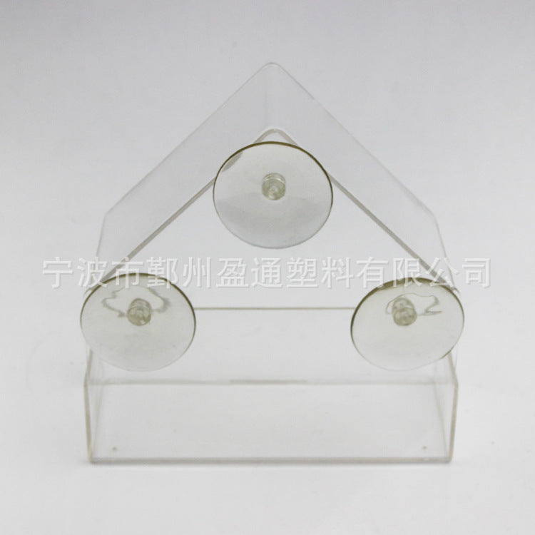 Factory direct plastic transparent bird feeder Adsorption house type bird feeder Creative suction cup feeder