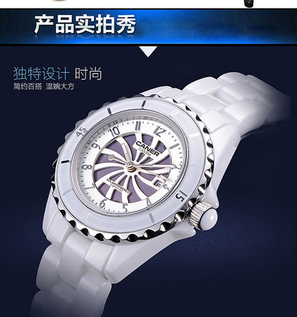 New technology fashion white solar ceramic watch for women