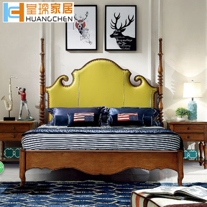 Huangfu Home Solid Wood Bed American Bed Bedroom Suite Furniture 1.8 Double Bed Walnut Beech Factory Wholesale