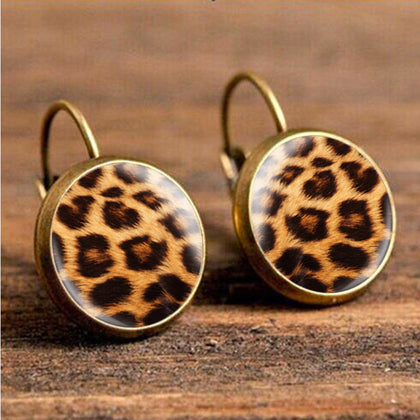 Bronze leopard print earrings