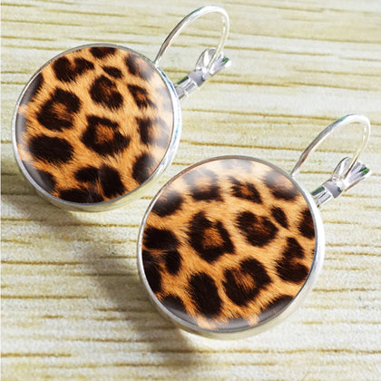 Silver Leopard Print Earrings