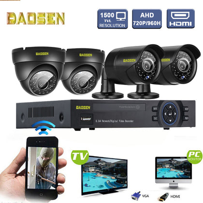 4-channel AHD-DVR security monitoring package 720P camera set machine network HD video equipment Sannce
