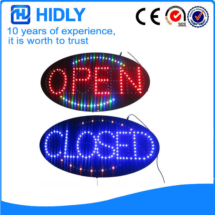 Supply CE FCC certification LED open closed billboard HSO0061 Haideli new