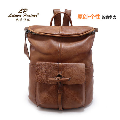 Japan Export Original Leather Large Capacity Men and Women Couples Backpack Import Top Layer Leather Travel Backpack