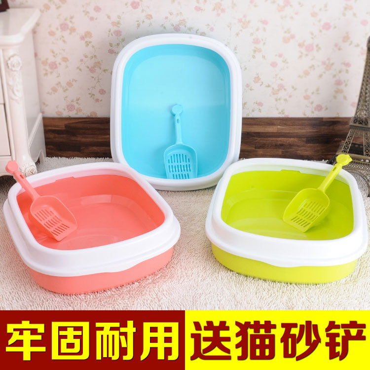 Pet supplies Japanese single-layer pet litter box in the large sand plate toilet with cat litter scoop cat litter wholesale