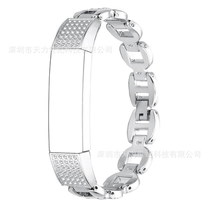Suitable for Fitbit alta hr smart bracelet metal strap, metal diamond strap!