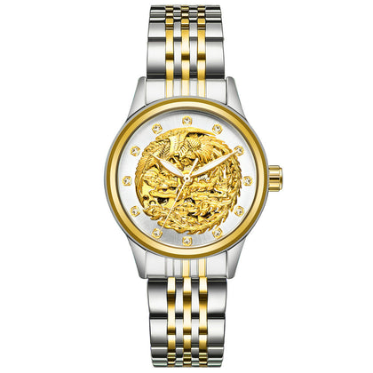 Phoenix Watch-White Noodles Gold Band-Ladies