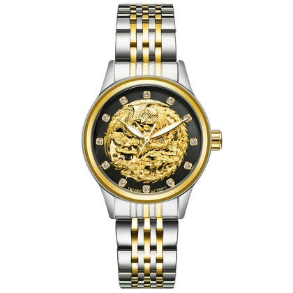Phoenix Watch-Black Face Gold Band-Ladies