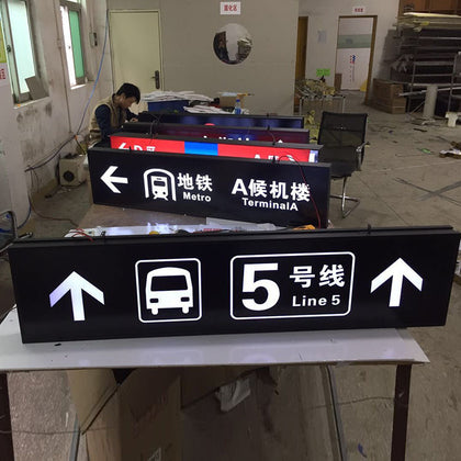 Parking light box Galvanized sheet aluminum profile paint acrylic light box Floor index card subway guide card