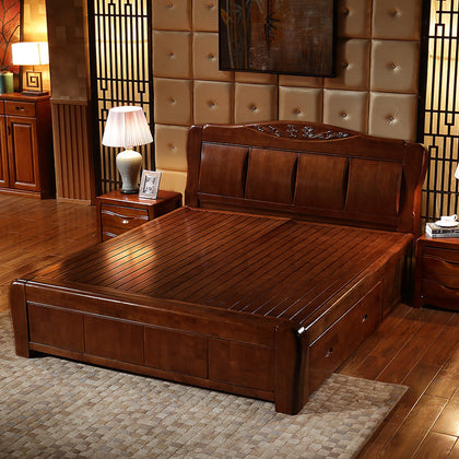 High-grade thick wood bed 1.8 m double bed walnut color 1.5 m modern Chinese high box storage bed