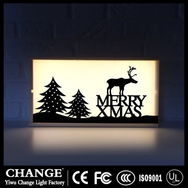 Foreign trade factory wooden LED light box children room decoration lantern wedding birthday party arrangement Christmas day