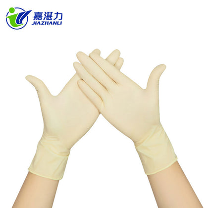 Spot Wholesale Disposable Latex Gloves Labor Insurance Gloves No Powder Ma Finger Slip Disposable Latex Gloves