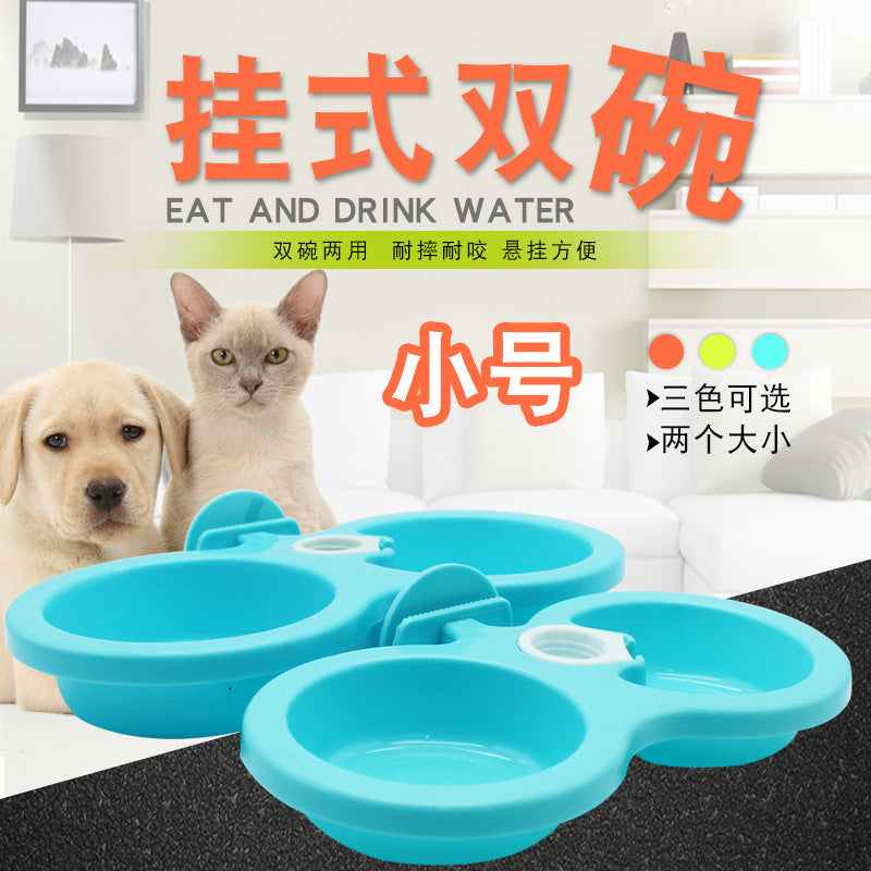 Hanging cage dog bowl dog cage cat cage special dog bowl dog food bowl hanging type thickening non-slip pet supplies trumpet
