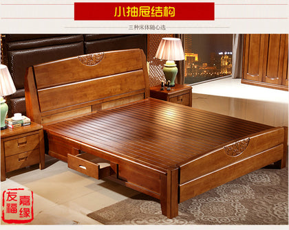 Factory direct all solid wood bed 1.8 m oak double bed 1.5 modern Chinese storage wedding bed economy furniture