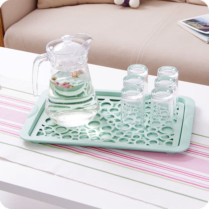 Double-layer plastic wheat straw rectangular water cup drain tray fruit tray living room cup tray tea tray bowl rack