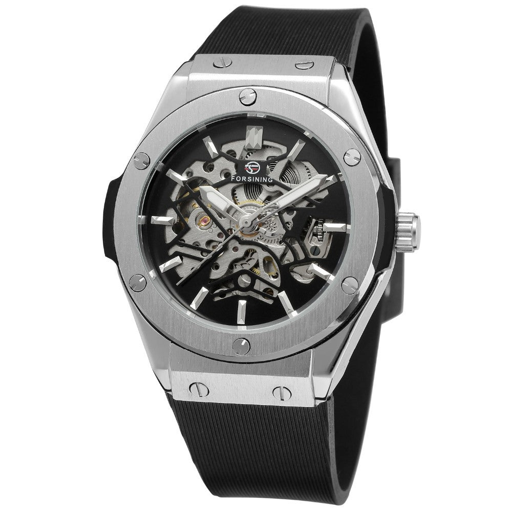 forsining European and American style men's fashion casual silver hollow skeleton automatic mechanical watches wholesale