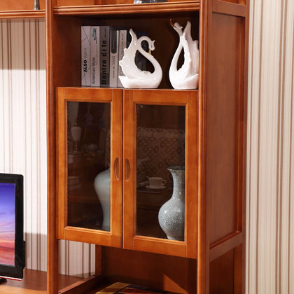 All solid wood modern Chinese-style TV cabinet floor cabinet wine cabinet living room TV combination audio-visual cabinet audio cabinet combination wall