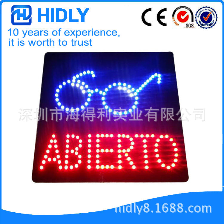 Led Spanish store signboard, ABIERTOl cold drink shop luminous logo(HSA0007)