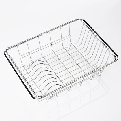 304 stainless steel drain basket with handle, foldable fruit basket, rectangular sink drain rack